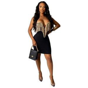 Tassel Strapless Bodycon Backless Dress