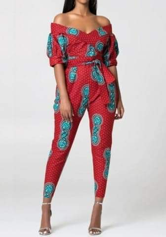 Women Fashon Off Shoulder Short Sleeve Africa StylesJumpsuit