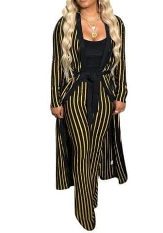 Striped Long Sleeve Coat with Waist Tie And Long Pants 2 Piece Suit