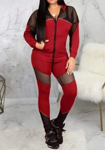 Front Zipper 2 Piece Long Sleeve Jacket and Long Pants