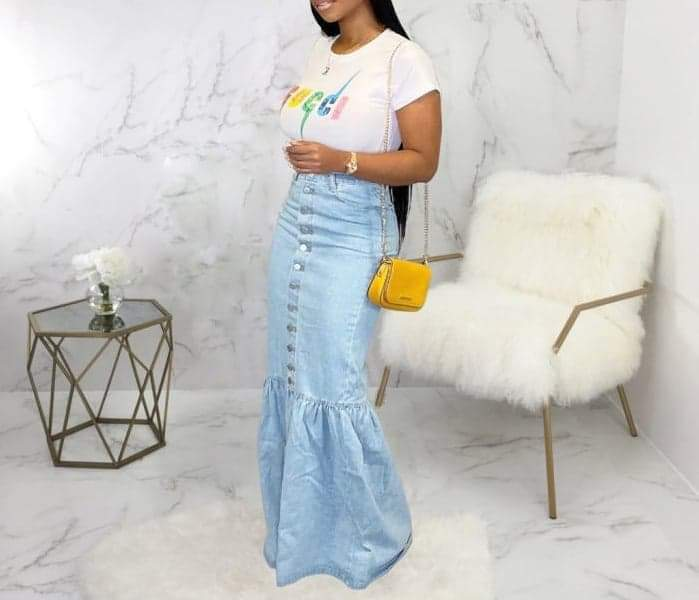 Front Bottom Bellbottoms Skirt