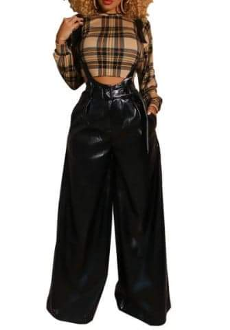 Overalls Wide Leg Pants Long Suspenders Trousers Black