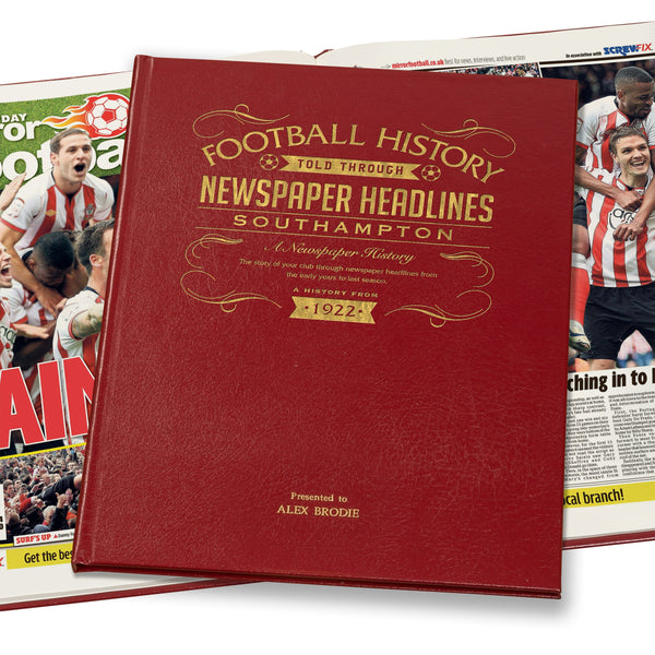 Southampton Newspaper Book Leather Red Cover