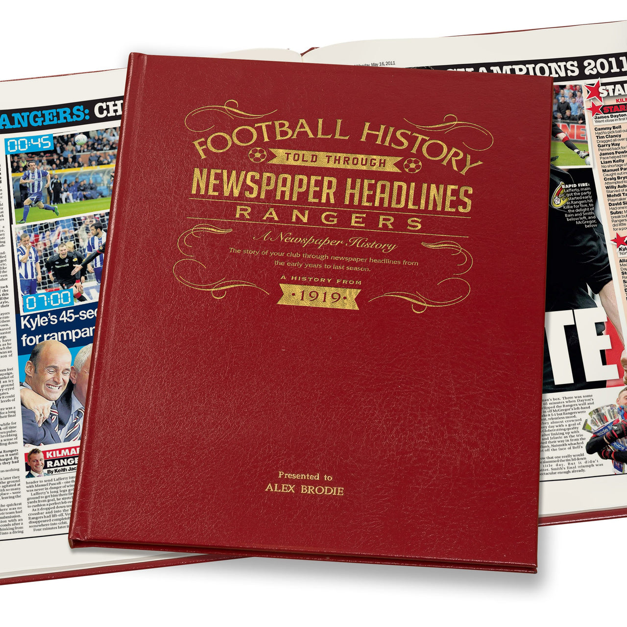 Rangers Newspaper Book - Leather Red Cover