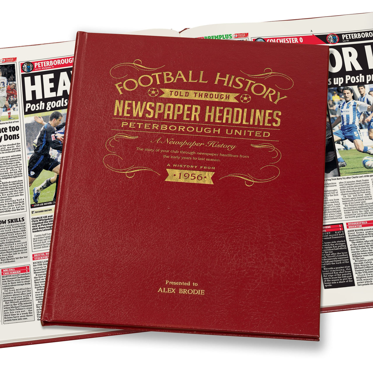 Peterborough Newspaper Book - Leather Red Cover