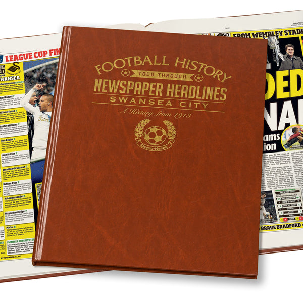 Swansea City Newspaper Book - Brown Leatherette (Colour Pages)