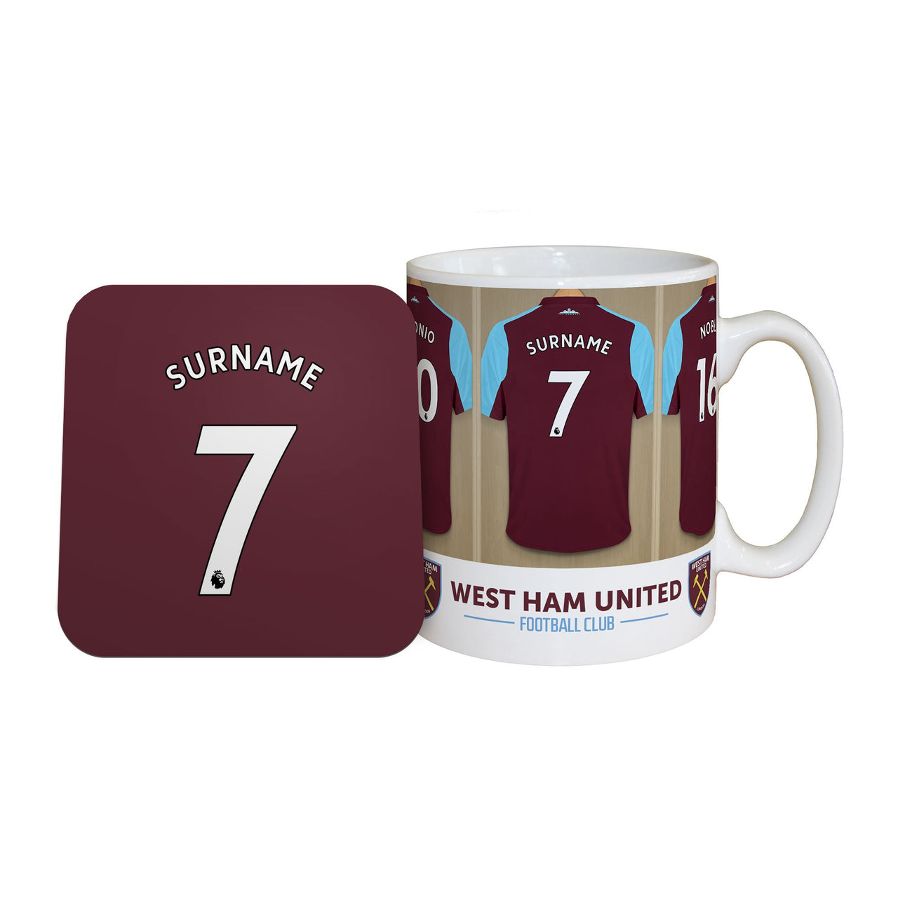 West Ham United Dressing Room Mugs, Gifts & Coaster Set