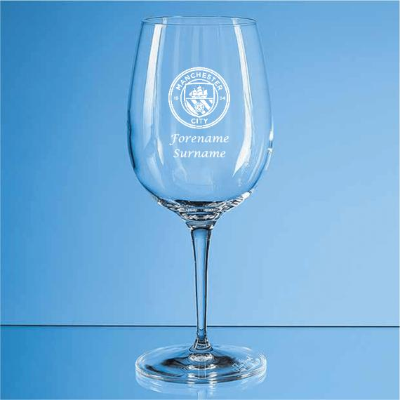 Manchester City Personalised Crest Wine Glass