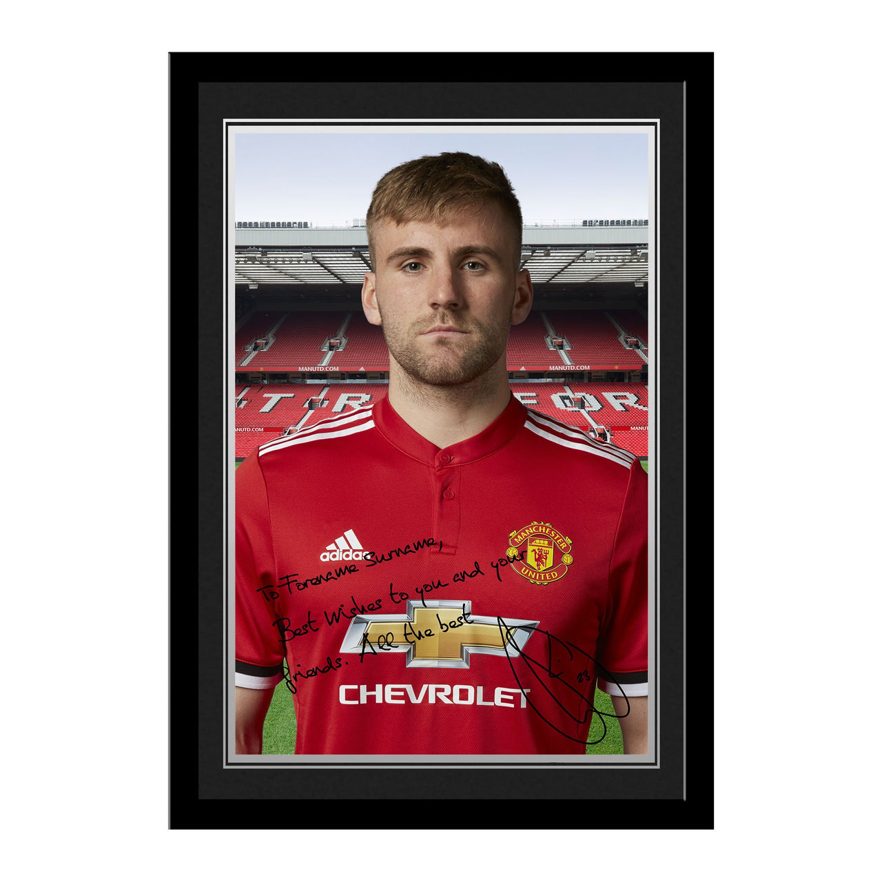 Manchester United FC Shaw Autograph Photo Framed