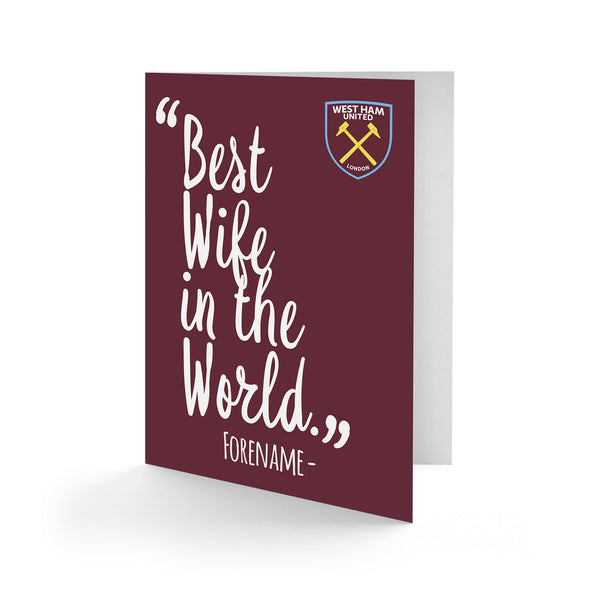 West Ham United Best Wife In The World Card