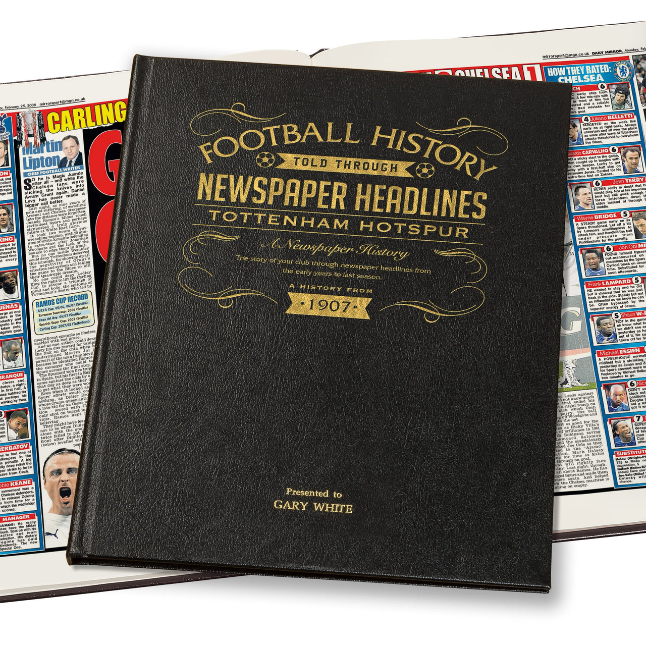 Tottenham Hotspur Newspaper Book - Leather Black Cover
