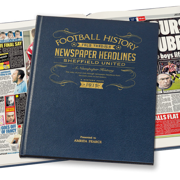 Sheffield United Newspaper Book - Leather Blue Cover