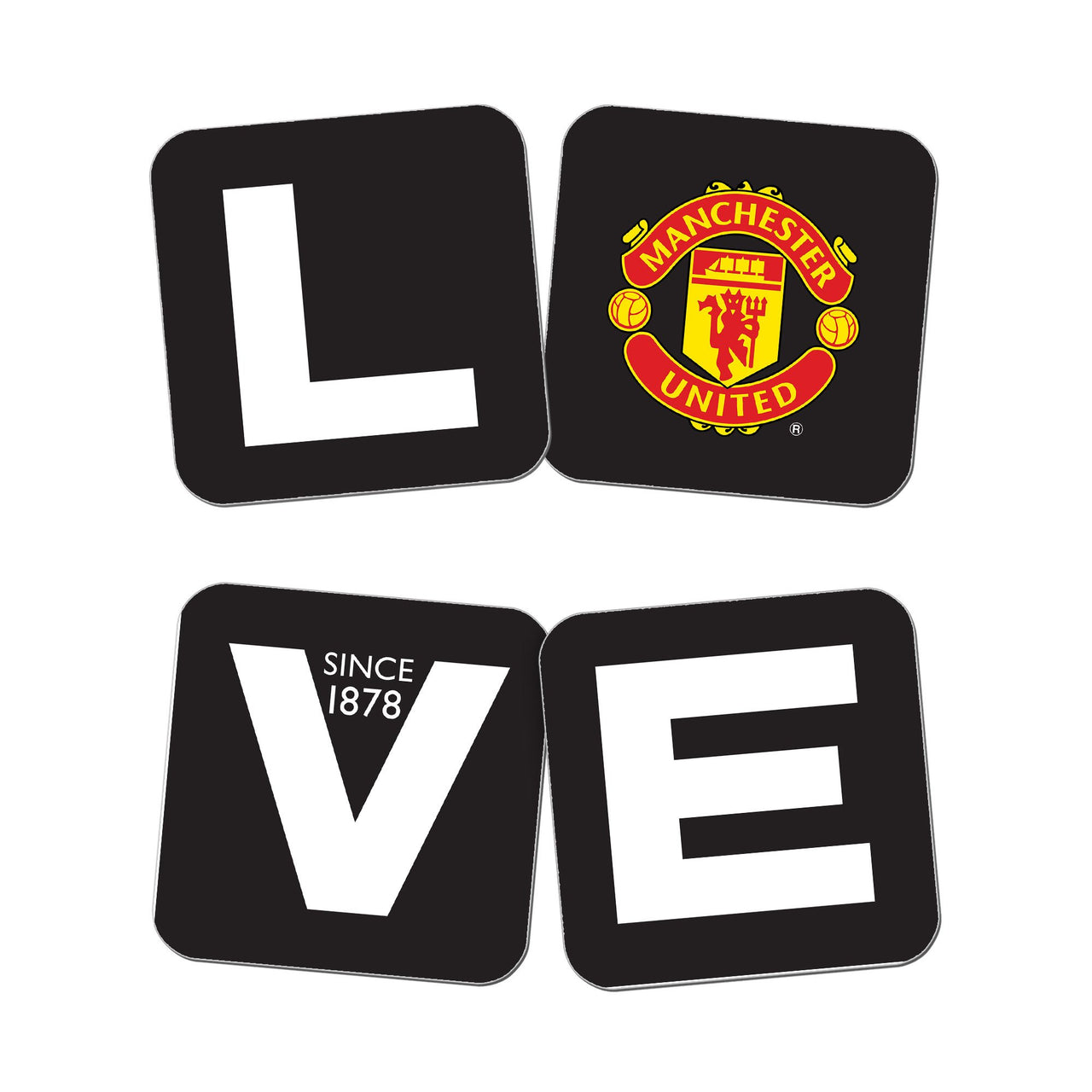 Manchester United Love Coasters (x4)