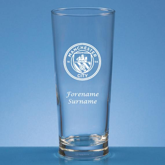 Manchester City Personalised Crest Straight Sided Beer Glass