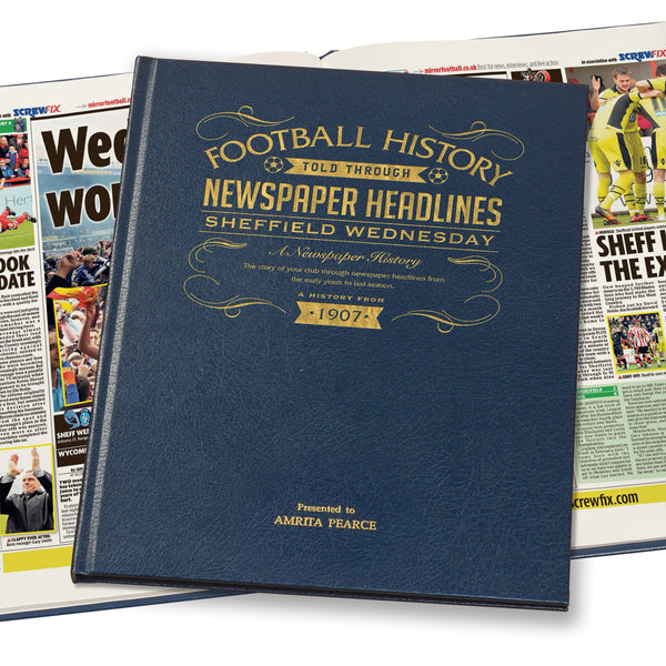 Sheffield Wednesday Newspaper Book - Leather Blue Cover