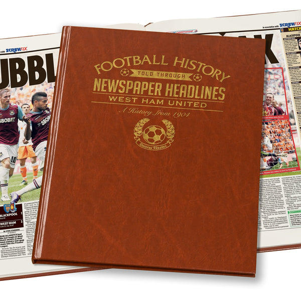 West Ham Newspaper Book - Brown Leatherette (Colour Pages)