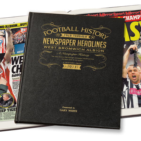 West Bromwich Albion Newspaper Book - Leather Black Cover