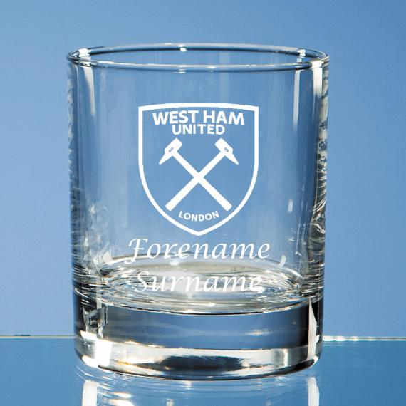 West Ham United Personalised Crest Bar Line Old Fashioned Whisky Tumbler