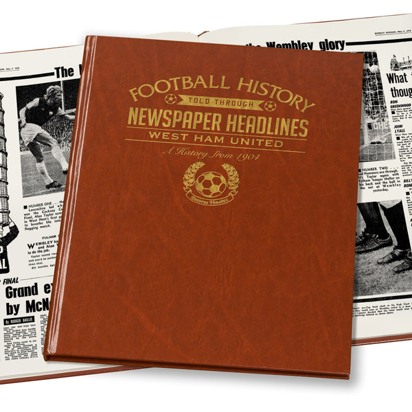 West Ham Newspaper Book - Brown Leatherette