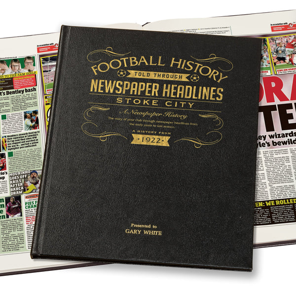 Stoke City Newspaper Book - Leather Black Cover