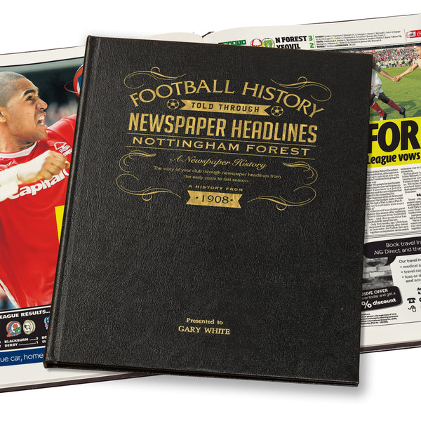 Nottingham Forest Newspaper Book - Leather Black Cover