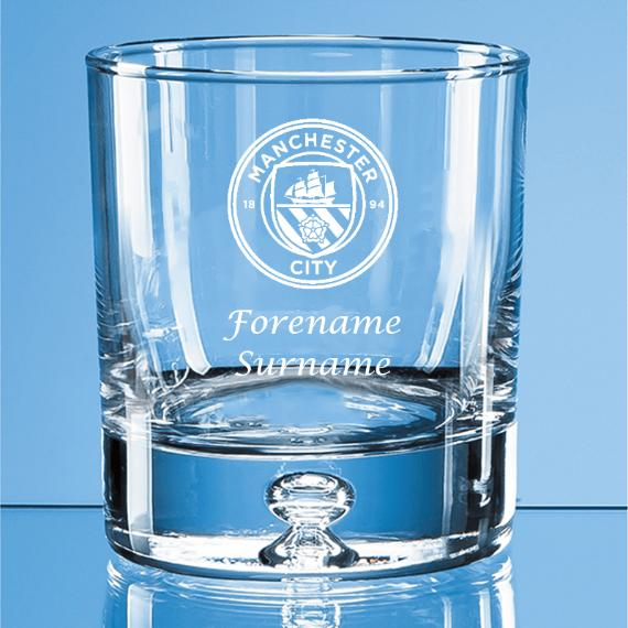 Manchester City Personalised Crest Bubble Base Whisky Tumbler