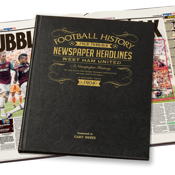 West Ham Newspaper Book - Leather Black Cover