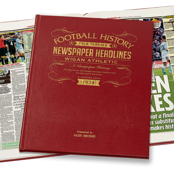 Wigan Athletic Newspaper Book - Leather Red Cover