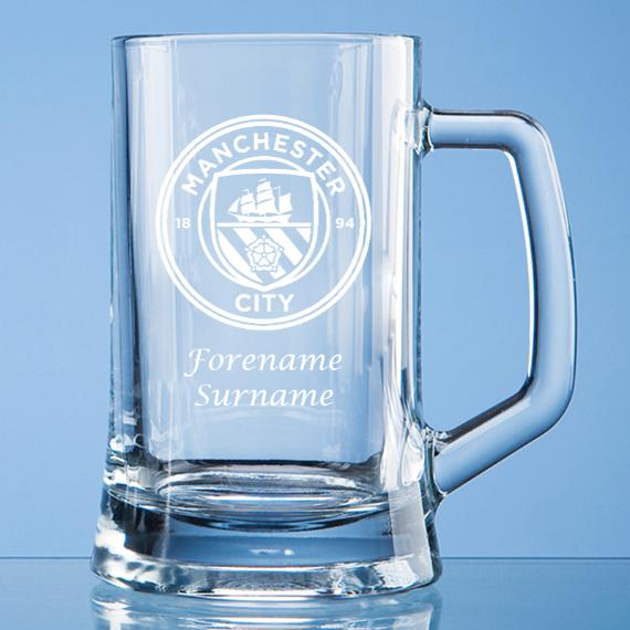 Manchester City Personalised Crest Small Plain Straight Sided Tankard