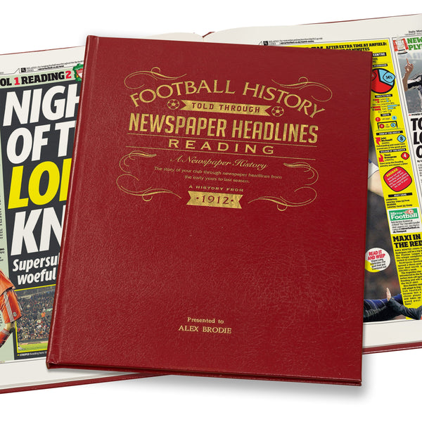 Reading Newspaper Book - Leather Red Cover