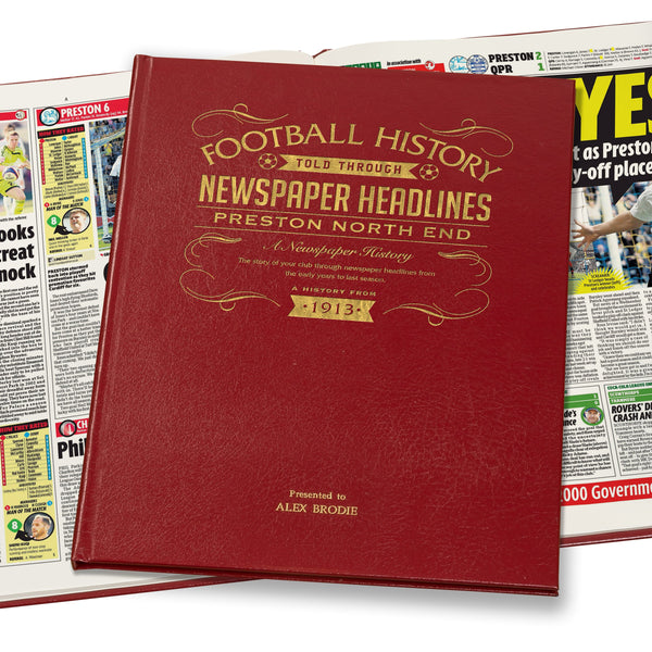 Preston Newspaper History Book - Leather Red Cover