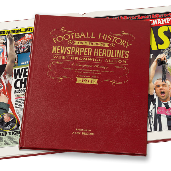 West Bromwich Albion Newspaper Book - Leather Red Cover
