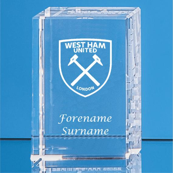 West Ham United Personalised Crystal Rectangle
