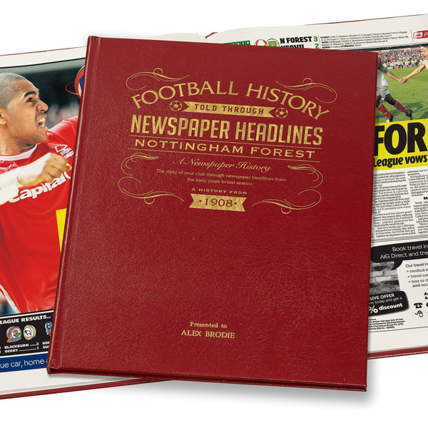 Nottingham Forest Newspaper Book - Leather Red Cover