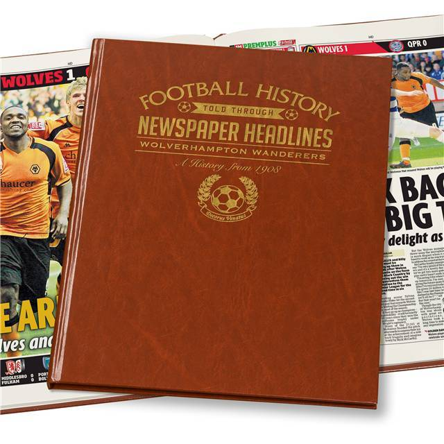 Wolves Newspaper Book - Brown Leatherette (Colour Pages)