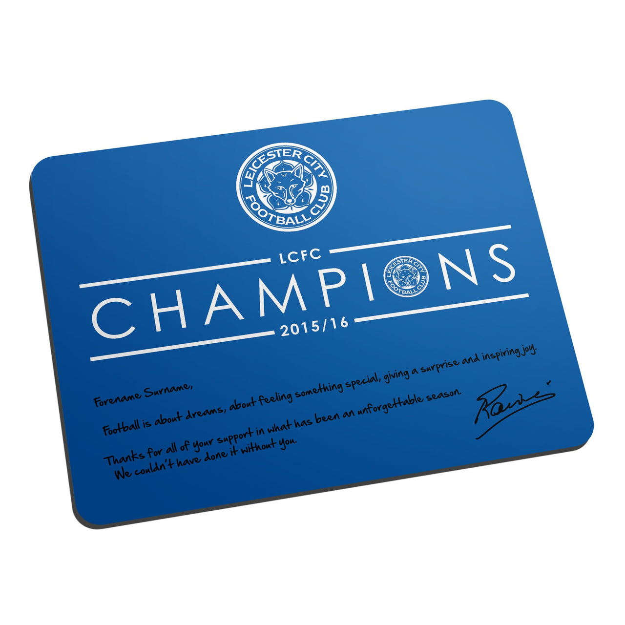 Leicester City Ranieri Champions Mouse Mat