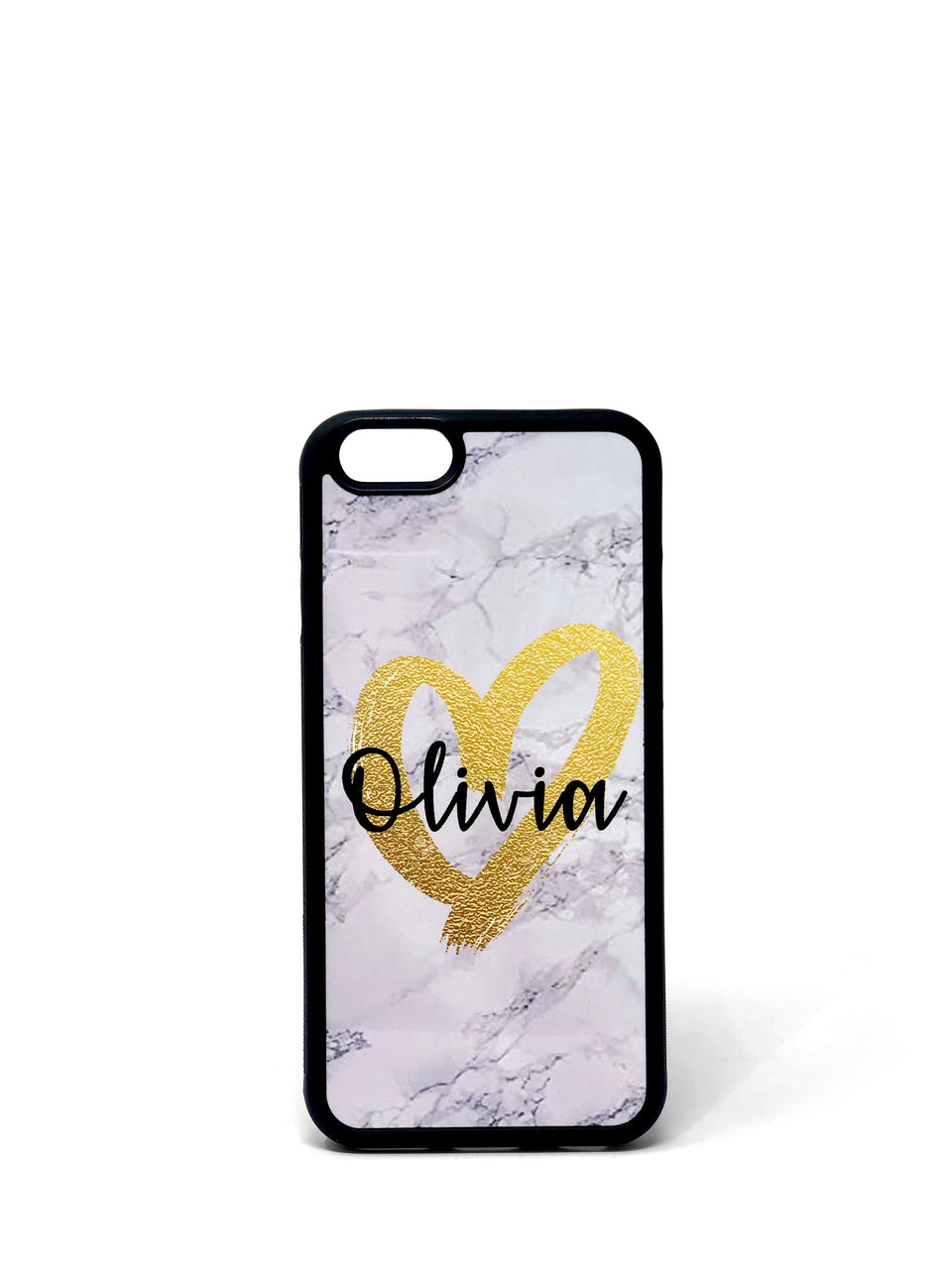 Phone Case - Large Gold Heart on Marble