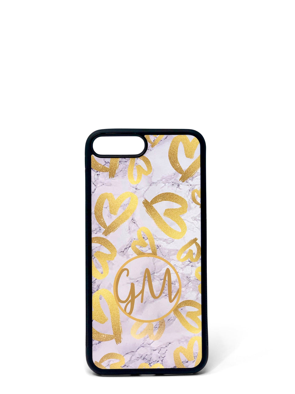 Phone Case - Gold Hearts on Marble