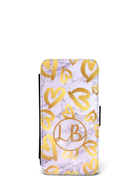 Flip Cover Phone Case - Gold Hearts on Marble