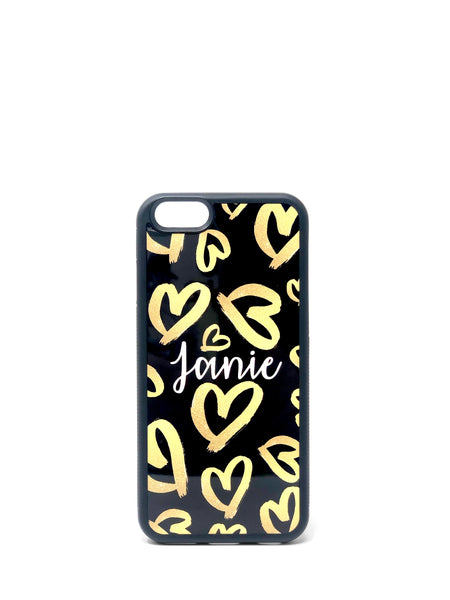 Phone Case - Gold Hearts on Black