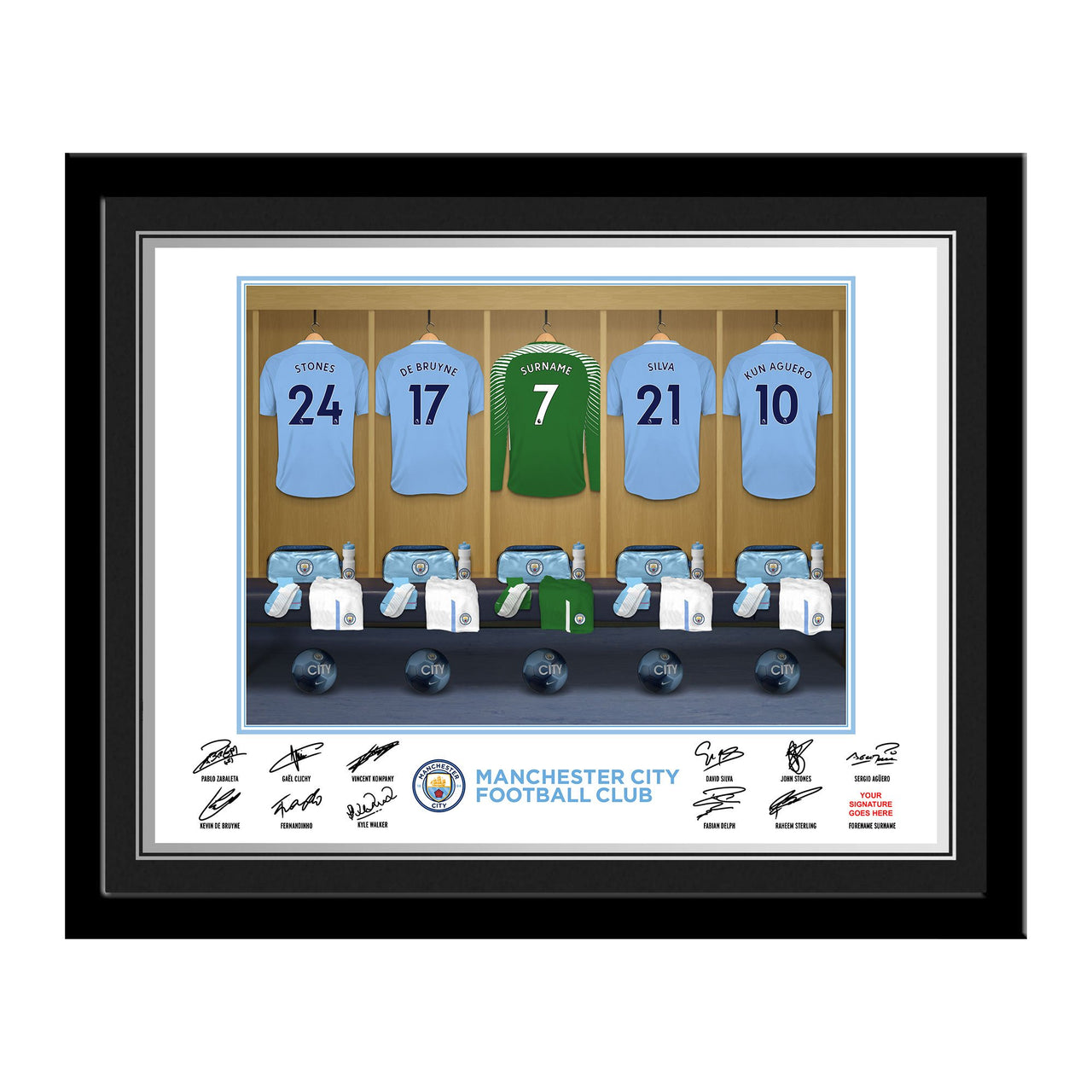 MCFC Goalkeeper Dressing Room Photo Framed
