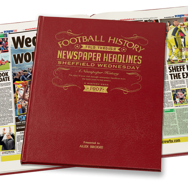 Sheffield Wednesday Newspaper Book - Leather Red Cover