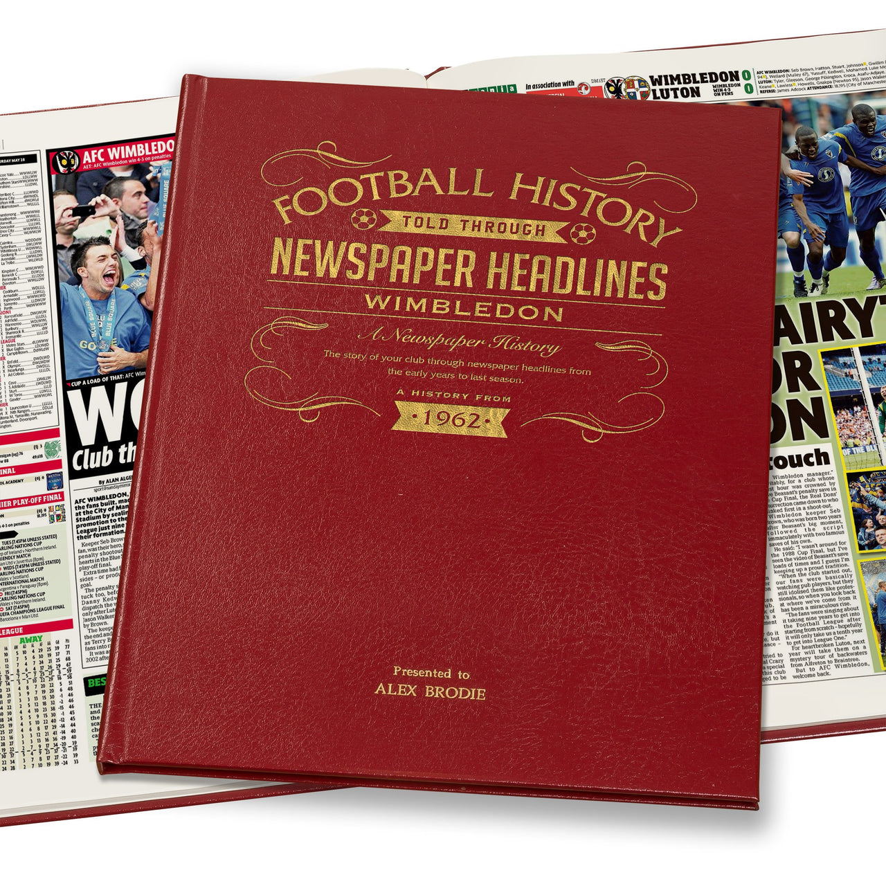 Wimbledon Newspaper Book - Leather Red Cover