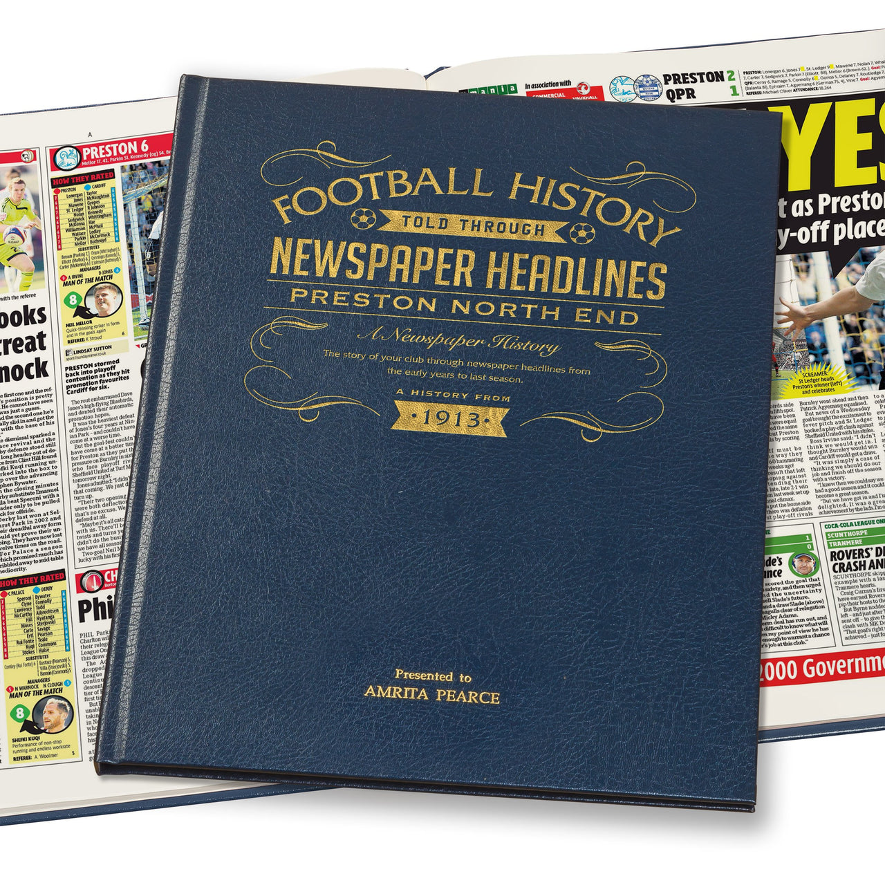 Preston Newspaper History Book - Leather Blue Cover