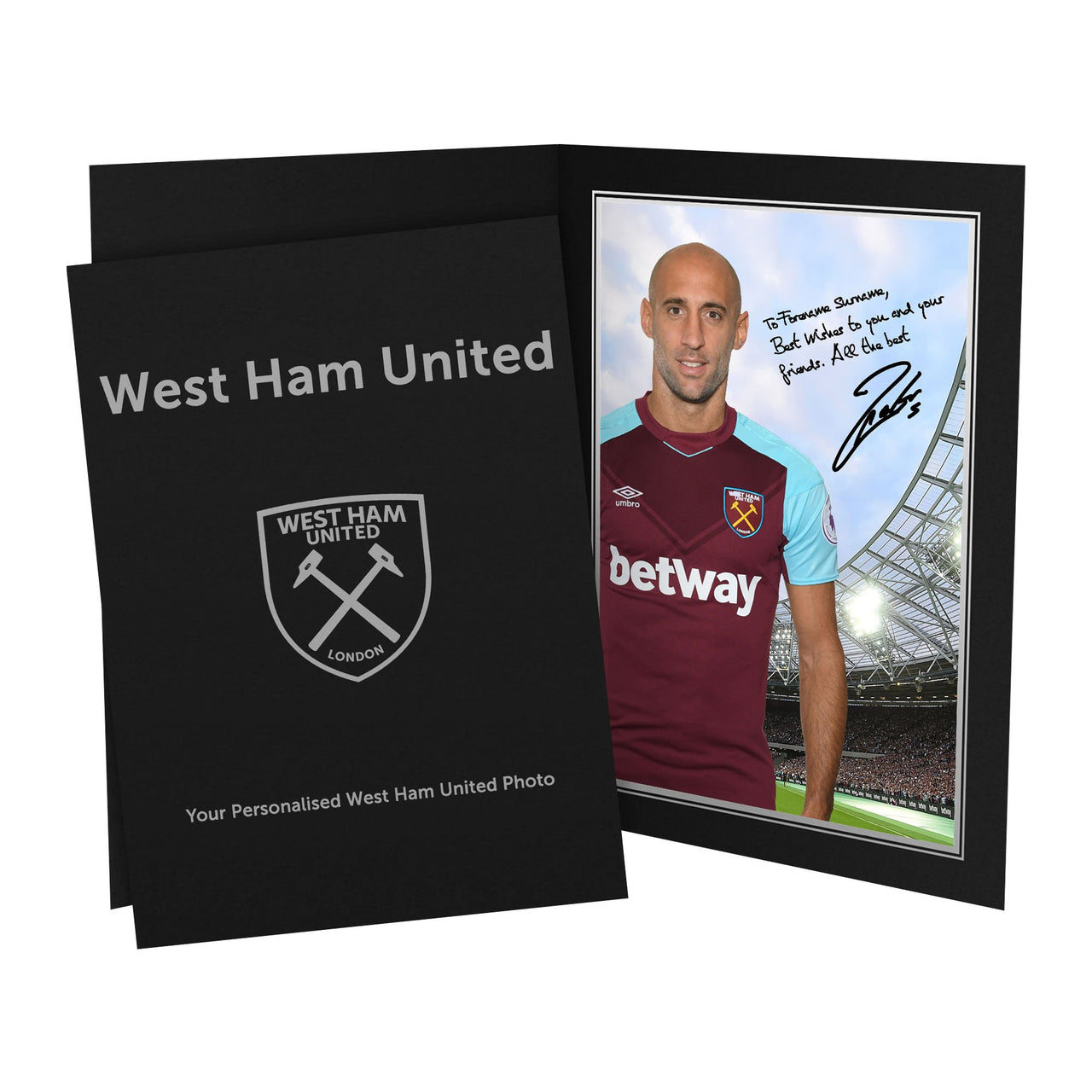 West Ham United FC Zabaleta Autograph Photo Folder