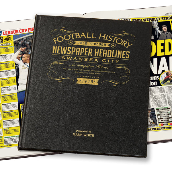 Swansea City Newspaper Book - Leather Black Cover