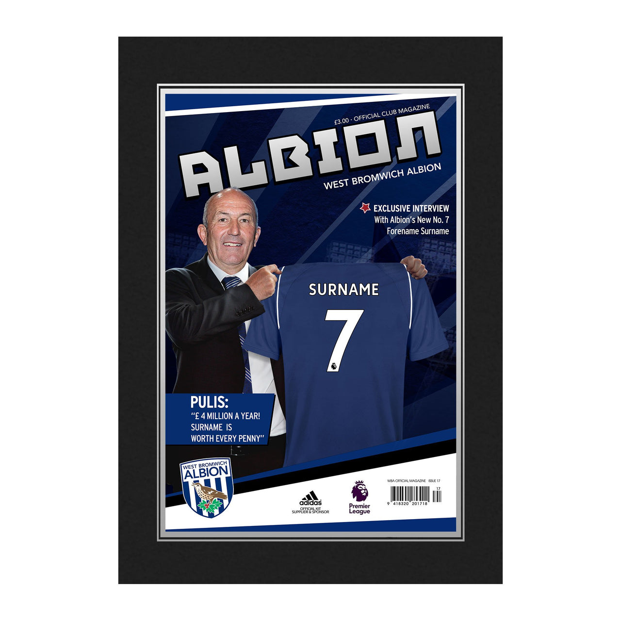 West Bromwich Albion FC Magazine Front Cover Photo Folder