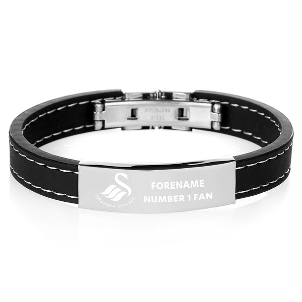 Swansea City AFC Steel & Rubber Bracelet