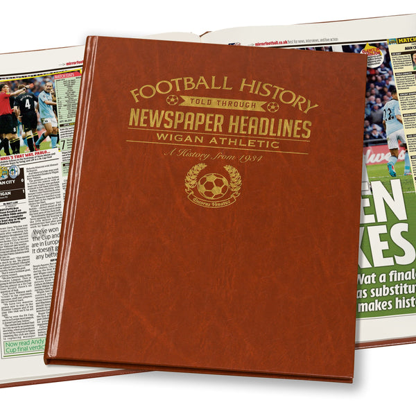 Wigan Athletic Newspaper Book - Brown Leatherette (Colour Pages)