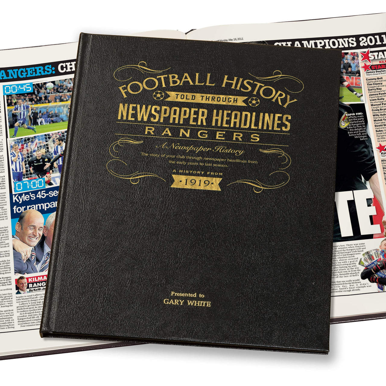 Rangers Newspaper Book - Leather Black Cover